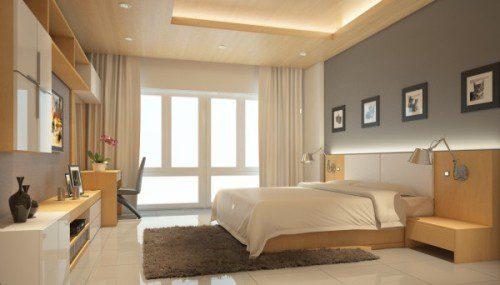 Phòng ngủ hướng Tây Nam gam màu vàng gổ tự nhiên làm chủ đạo. Ảnh: Không Gian Hoàn Hảo.