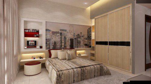 Phòng ngủ gam màu gỗ và xám nhạt mang lại cảm giác yên bình. Ảnh: Không Gian Hoàn Hảo.