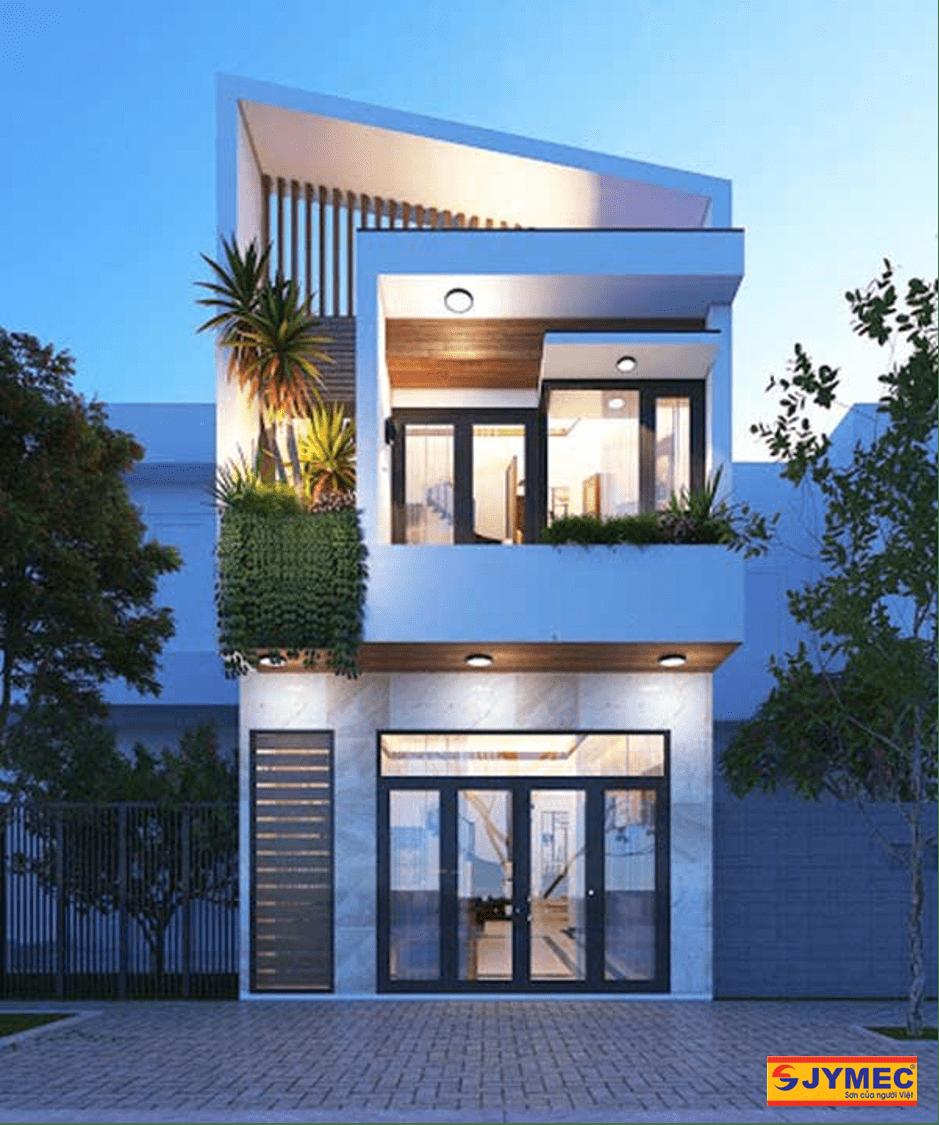 xây nhà 2 tầng giá 700 triệu mái lệch hiện đại