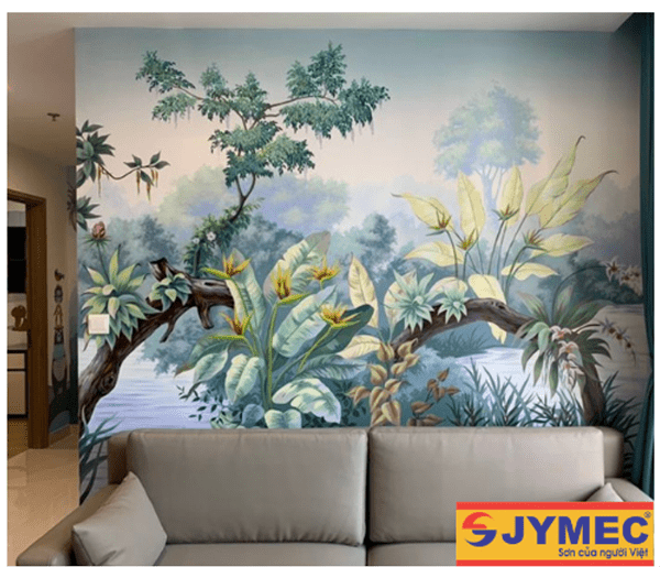 trang trí tường nhà bằng tranh vẽ 3d