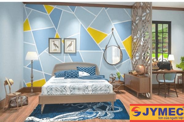 trang trí tường nhà bằng các hình học