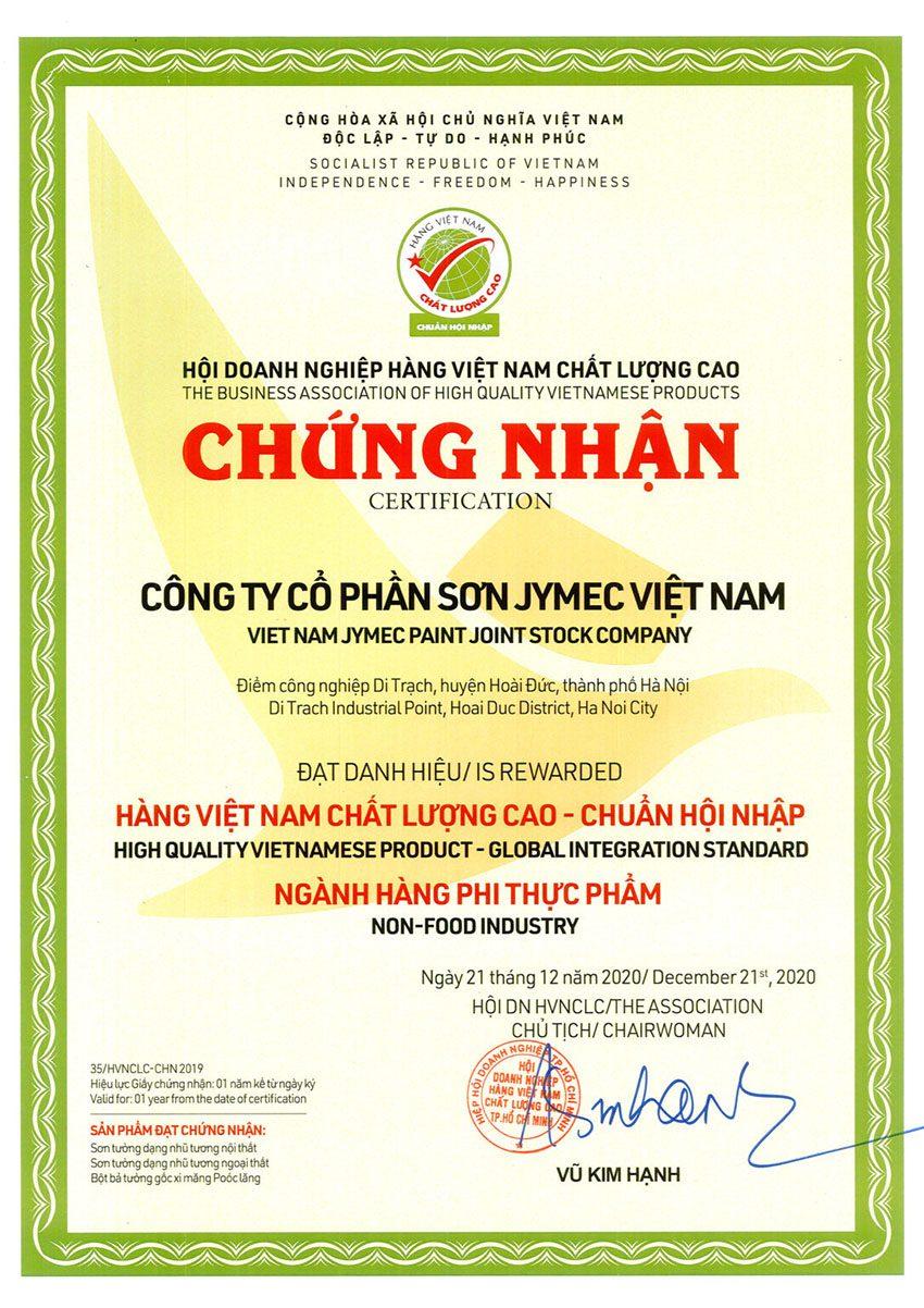 Chứng nhận Sơn hàng Việt nam chất lượng cao chuẩn hội nhập