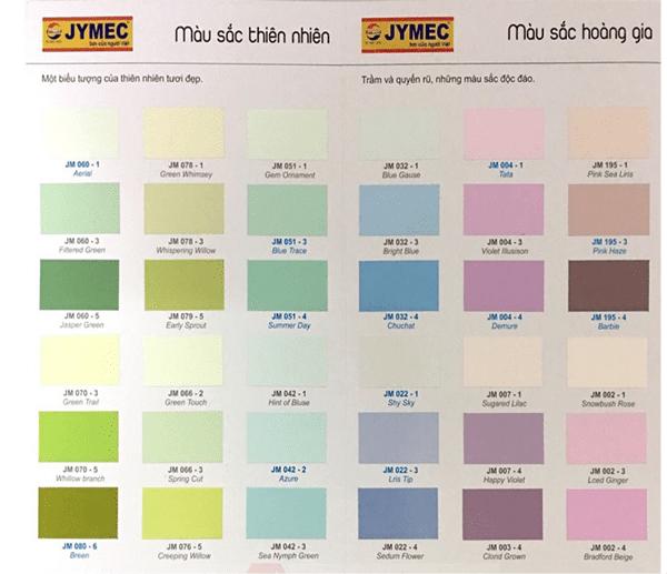 Bảng màu sơn ngoại thất JYMEC