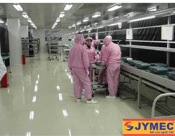 Sàn nhà xưởng được sơn Epoxy chống ăn mòn axit, hóa chất